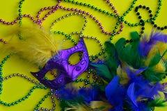 Mardi Gras pärlor, maskering och boa royaltyfria foton