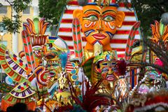 Mardi Gras Parade in the Bahamas. Colorful Mardi Gras masks and costumes on parade in the Bahamas Royalty Free Stock Image