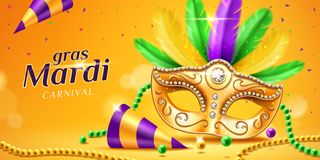 Mardi gras parade banner with masquerade mask. Mardi gras parade banner with masquerade or carnival mask and beads, feather and confetti, cone hat. Festival face vector illustration