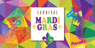 Mardi Gras Parade. Carnival, Festival, Music Masquerade Mardi Gras Parade colorful invitation design. Vector Funfair, parade funny flyer placard tickets banners Stock Photos