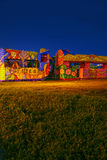 Mardi Gras parade floats. Colorful floats wait in a field overnight before a day parade during Mardi Gras in New Orleans, Louisiana royalty free stock photos