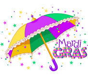 Mardi Gras paraply stock illustrationer