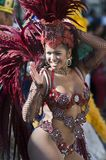 Mardi Gras participant. Queen Thatiana Pagung parades before the crowds in Long Beach CA during a Mardi Gras parade