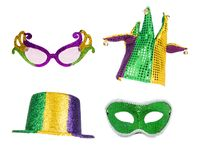 Mardi Gras Party Accessories Isolated royaltyfri foto