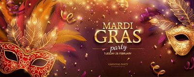 Mardi Gras party banner. Design with golden masks and feathers in 3d illustration, confetti and streamers background stock illustration