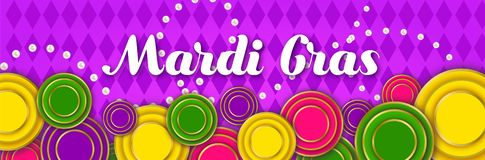Mardi Gras Party banner with a Lettering, carnival mask, floral elements, beads and Mardigras cover. Circus amusement vector illustration