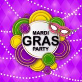 Mardi Gras Party banner with a Lettering, carnival mask, floral elements, beads and Mardigras pattern. Circus amusement stock illustration