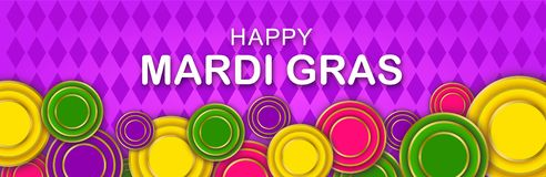Mardi Gras Party banner with a Lettering, carnival mask, floral elements and Mardigras cover. Circus amusement poster royalty free illustration