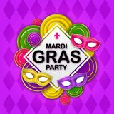 Mardi Gras Party banner with a Lettering, carnival mask, floral elements, beads and Mardigras pattern. Circus amusement vector illustration
