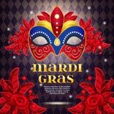 Mardi Gras Party Bright Poster Fotografia Stock Libera da Diritti