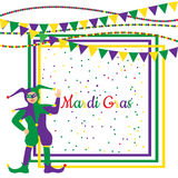 Mardi Gras Party Frame with harlequin. Mardi Gras Party colorful frame with cartoon harlequin and festival flags. Vector illustration Royalty Free Stock Photos