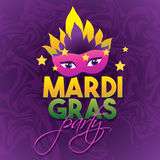 Mardi Gras Party Logo Poster Karnevaltypbehandling Maskeringsaffisch Kalligrafi- och typografikort Ferieaffisch eller Arkivfoton