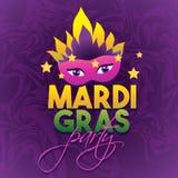 Mardi Gras Party Logo Poster Tipo trattamento di carnevale Manifesto della maschera Carta di tipografia e di calligrafia Manifest Fotografie Stock