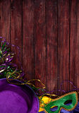 Mardi Gras: Party Mask And Hat With Copyspace Above Stock Photo