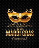 Mardi Gras Party Mask Holiday-Afficheachtergrond Vectorillustra Stock Fotografie
