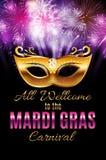Mardi Gras Party Mask Holiday affischbakgrund Vektorillustra Arkivfoto
