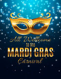 Mardi Gras Party Mask Holiday affischbakgrund Vektorillustra Arkivbild