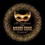 Mardi Gras Party Mask Holiday affischbakgrund Vektorillustra Royaltyfri Fotografi