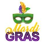 Mardi Gras Party Mask Poster Calligrafia e Fotografia Stock Libera da Diritti