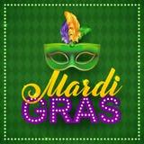 Mardi Gras Party Mask Poster Calligrafia e Immagine Stock Libera da Diritti