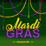 Mardi Gras Party Poster Caligrafía y Fotos de archivo libres de regalías