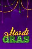 Mardi Gras Party Poster Caligrafía y tipografía Fotografía de archivo