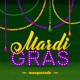 Mardi Gras Party Poster Calligrafia e Fotografie Stock Libere da Diritti
