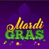 Mardi Gras Party Poster Calligrafia e Fotografia Stock