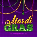 Mardi Gras Party Poster Calligrafia e tipografia Immagini Stock
