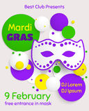 Mardi Gras party poster design. Template of poster. Stock Photography