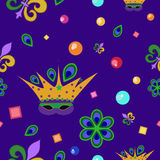 Mardi Gras pattern. Mardi Gras seamless pattern, with mask, fleur de lis, peacock feathers and beads Stock Images