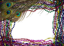 Mardi Gras Peacock Feathers. Colorful peacock feathers on a bed of Mardi Gras beads Stock Photos