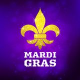 Mardi Gras postcard decorative gold glitter symbol, vector illustration. Design vector illustration