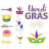 Mardi Gras Poster with Colorful Carnival Symbols Stock Photos