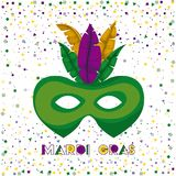 Mardi gras poster with green carnival mask with colorful feathers and confetti background. Vector illustration Royalty Free Stock Photography