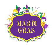 Mardi Gras poster with mask, beads, trumpet, drum, fleur de lis, jester hat, masks Royalty Free Stock Image