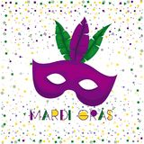 Mardi gras poster with purple carnival mask and colorful feathers with confetti background. Vector illustration Stock Photo