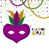 Mardi gras poster with purple carnival mask with colorful feathers and necklaces and confetti background. Vector illustration Stock Image