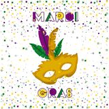 Mardi gras poster with yellow carnival mask and colorful feathers with confetti background. Vector illustration Stock Photos