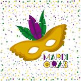Mardi gras poster with yellow carnival mask with colorful feathers and confetti background. Vector illustration Royalty Free Stock Photography
