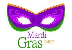 Mardi Gras purple carnival mask with ornaments for poster, greeting card, party invitation, banner or flyer on white background. Royalty Free Stock Photo