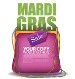 Mardi Gras purse background EPS 10 vector. Royalty free stock illustration for greeting card, ad, promotion, poster, flier, blog, article, social media Stock Photos