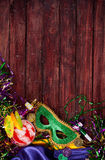 Mardi Gras: Ready To Party With Hurricane Cocktail And Green Mas Stock Photography