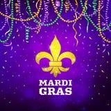 Mardi Gras reklamblad, dekorativt annonseringbaner med färgrika pärlor, vektorillustration royaltyfri illustrationer