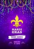 Mardi Gras reklamblad, dekorativt annonseringbaner med färgrika pärlor, vektorillustration stock illustrationer