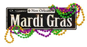 Mardi Gras Rustic Vintage Street Signs Retro. Mardi Gras New Orleans Street Signs Vintage French Quarter Bourbon Street Canal St. Retro Beads Invitation Art royalty free stock photo