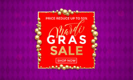 Mardi Gras sale gold heart glitter poster royalty free illustration