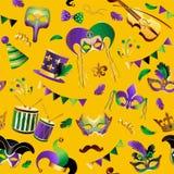 Mardi Gras seamless modell Mall med guld- karnevalmaskeringar på bakgrund Blänka festlig beröm vektor stock illustrationer