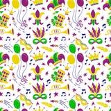 Mardi Gras seamless pattern stock images