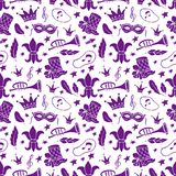Mardi Gras seamless pattern stock illustration